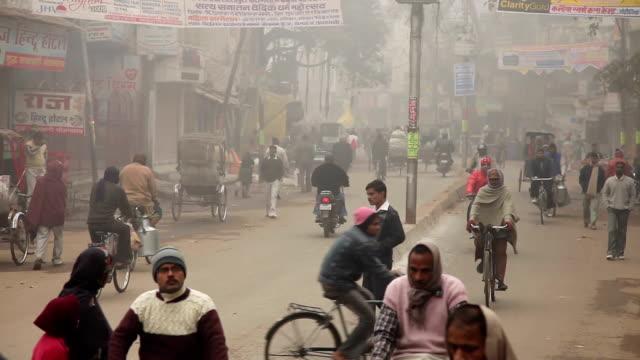 Street Scence and Traffic in Varanasi, India video