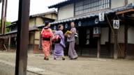 Street Scene of People in a Traditional Japanese Village video