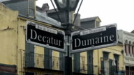 Street signs Decatur street and Dumaine street in New Orleans video