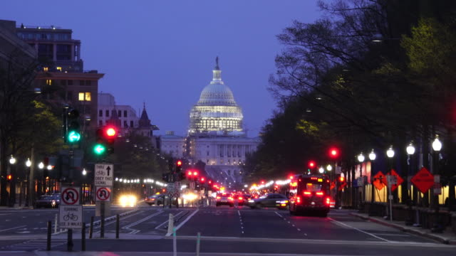 Street to The United States Capitol building in Washington DC video