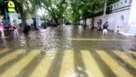 Street under flood in Bangkok Thailand video