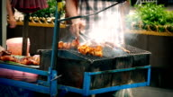 Street Vendor Cooking Meat On Smoking Grill video