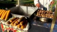 Street vendor roasting chestnuts video