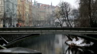 Street view with colorful buildings in prague video