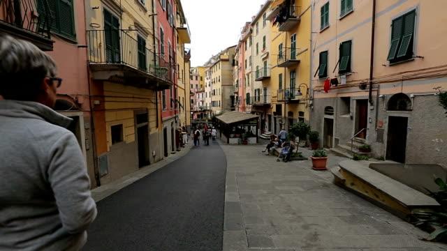 Street walking of Riomaggiore village in Italy. Riomaggiore is one of five famous coastline villages video