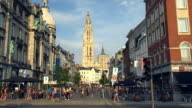 Street with cathedral in Antwerp video