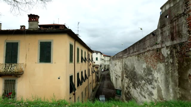 Street with old home Italian buildings video