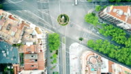 Streets and residential houses in Barcelona, Spain, top view. FullHD aerial video video
