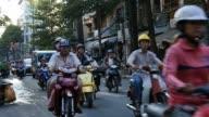 HO CHI MINH / SAIGON, VIETNAM - 2015: Streets busy asian city life slow motion video