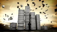 Stressful businessman with too many stack of paper. overload work.2 video