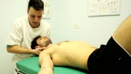 Stretching physiotherapy procedure in the neck video