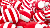 Stripey Red & White Spheres - 4 videos in 1 video
