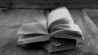 strong gusty wind turns the pages of an open book video