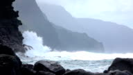 SLOW MOTION: Strong wave splashing into coarse ocean cliff upcoming from the sea video