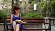 Student girl studying in the campus video