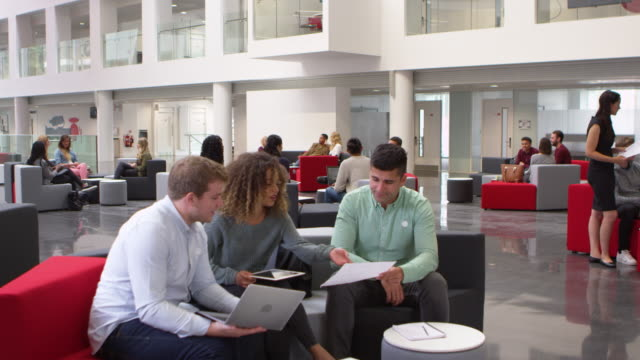 Student group studying together in a busy modern university lobby, shot on R3D video