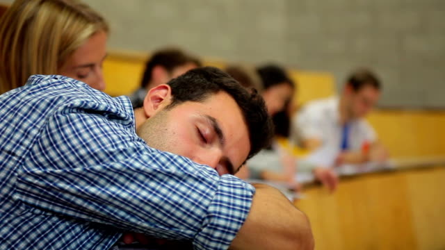 Student napping in the lecture hall video