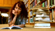 Student reading a library book video