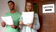 Students at a casting call for a play video
