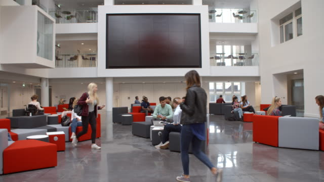 Students come and go in the busy lobby of a university video