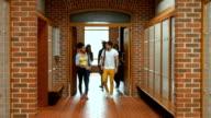 Students entering in locker room video