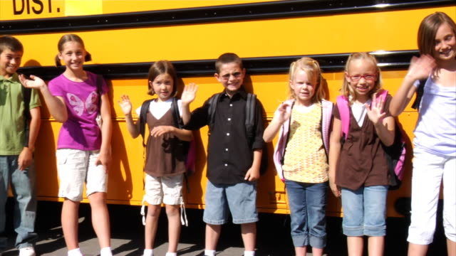 Students in front of school bus video