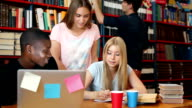 Students in library video
