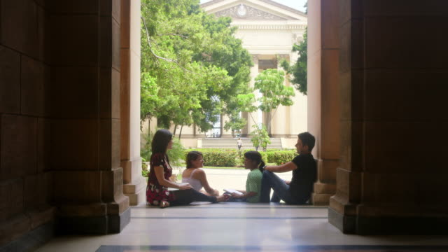 Students in university, group of young men and women talking video