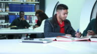 Students in university library video