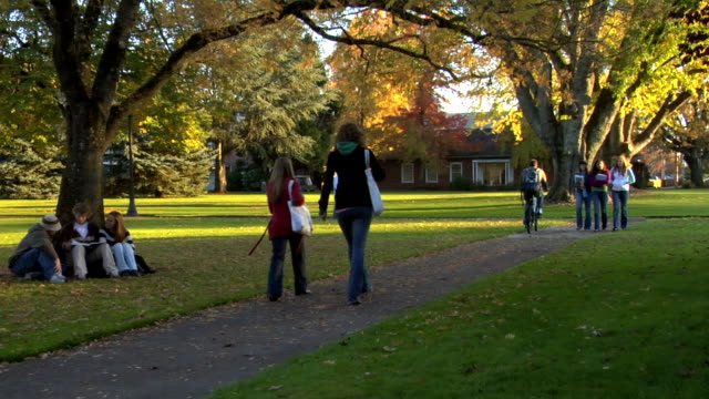 Students on fall campus video