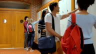 Students opening lockers video