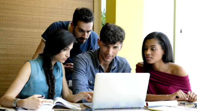 Students studying at laptop video