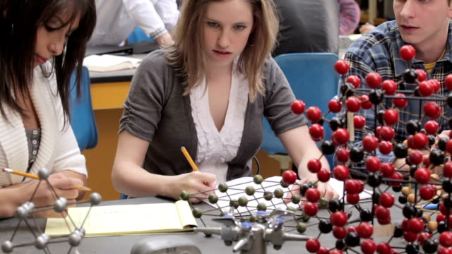 Students studying in a science class video