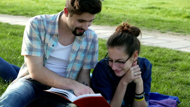 Students studying in the park video
