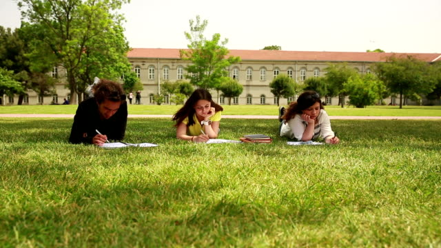 Students studying lessons at the campus video