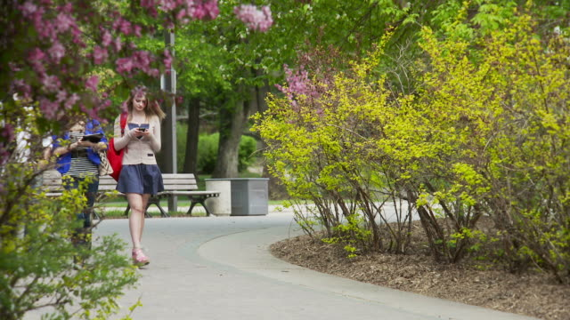 Students walk and talk on university campus video