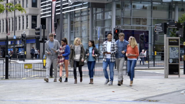 Students Walking Around Town Using Technology video