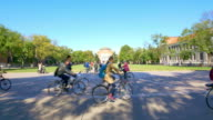 students with bikes in Tsinghua University 4k video