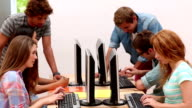 Students working in computer room video