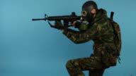 Studio Shot of Soldier in Action video