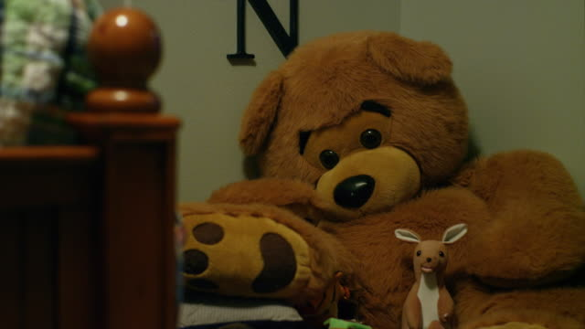 Stuffed animals in a child's room video