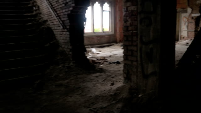 CLOSE UP: Stunning architectural features in decaying abandoned castle in ruins video
