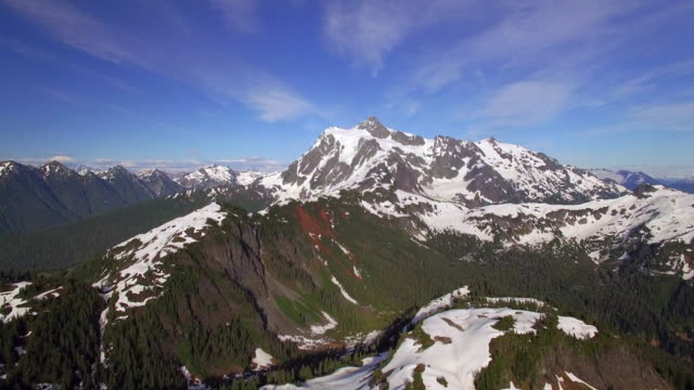 Stunning Helicopter Shot of Cascade Mountain Range with Mt Shuksan in Pacific Northwest video