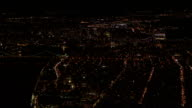 AERIAL: Stunning skyline in motion of lit up with lights New York City at night video