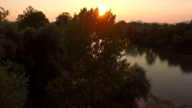 AERIAL: Stunning wide river with small island at scenic golden light sunset video
