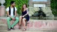 Stylish couple discussing with intimacy video