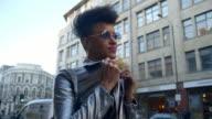 Stylish Fashion Blogger Standing In Urban Street video