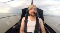 Stylish Man In The Cabin Of The Autogyro video