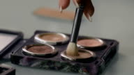 Stylist gaining cosmetic shadows on the brush video