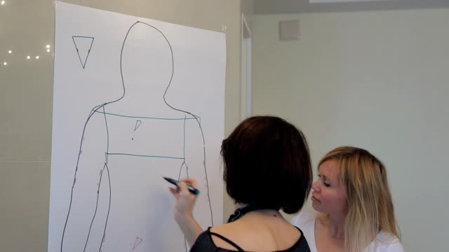 Stylist shows favorable styles by drawn on customer paper contour video